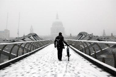 Crossing the Millennium Bridge, England