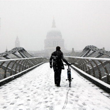 Crossing the Millennium Bridge, England