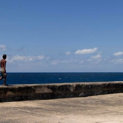 Walking the dog on the Malecon, Cuba