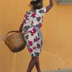 Woman with baskets